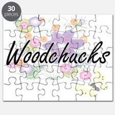 Woodchucks artistic design with flowers Puzzle