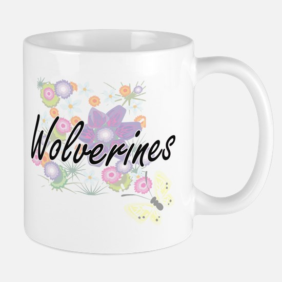 Wolverines artistic design with flowers Mugs