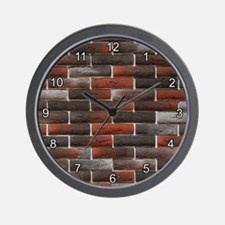 RED AND BLACK BRICK WALL Wall Clock