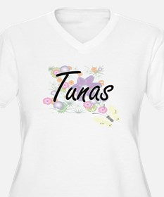 Tunas artistic design with flowe Plus Size T-Shirt