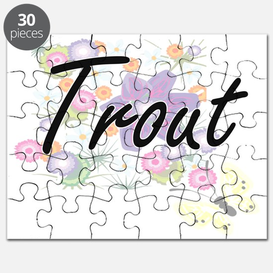 Trout artistic design with flowers Puzzle