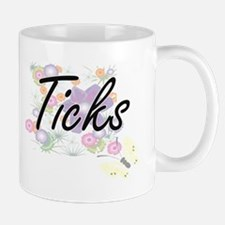 Ticks artistic design with flowers Mugs