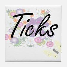 Ticks artistic design with flowers Tile Coaster