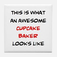awesome cupcake baker Tile Coaster