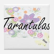 Tarantulas artistic design with flowe Tile Coaster