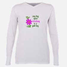 Cute Cross stitching Plus Size Long Sleeve Tee