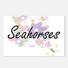 Seahorses artistic design Postcards (Package of 8)
