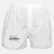 Seahorses artistic design with flower Boxer Shorts