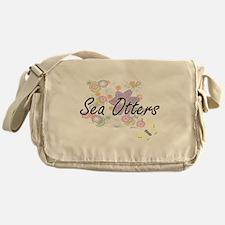 Sea Otters artistic design with flow Messenger Bag