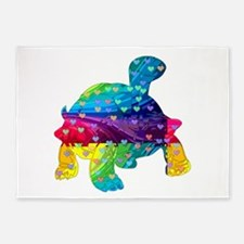 Rainbow Turtle With Multicolored He 5'x7'Area Rug
