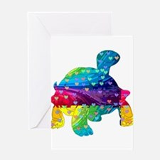 Rainbow Turtle With Multicolored He Greeting Cards