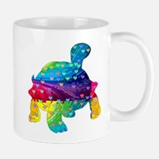 Rainbow Turtle With Multicolored Hearts Mugs