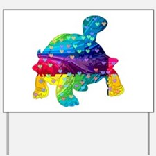 Rainbow Turtle With Multicolored Hearts Yard Sign