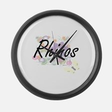Rhinos artistic design with flowe Large Wall Clock