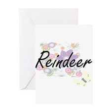 Reindeer artistic design with flowe Greeting Cards