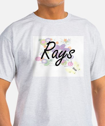 Rays artistic design with flowers T-Shirt