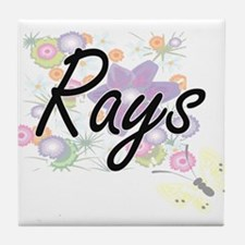 Rays artistic design with flowers Tile Coaster