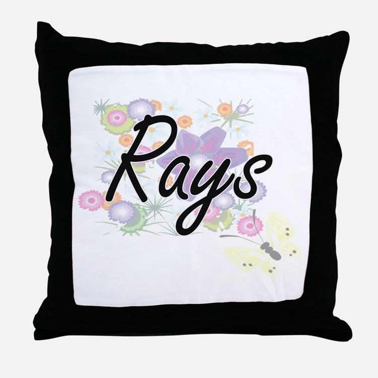 Rays artistic design with flowers Throw Pillow