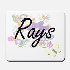 Rays artistic design with flowers Mousepad