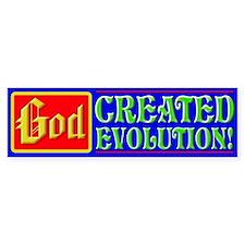 """God Created Evolution"" Bumper Bumper Sticker"