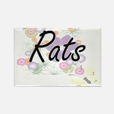 Rats artistic design with flowers Magnets