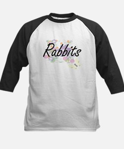 Rabbits artistic design with flowe Baseball Jersey