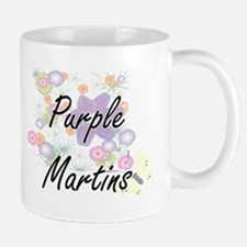 Purple Martins artistic design with flowers Mugs