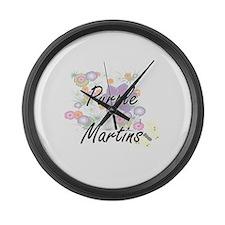Purple Martins artistic design wi Large Wall Clock