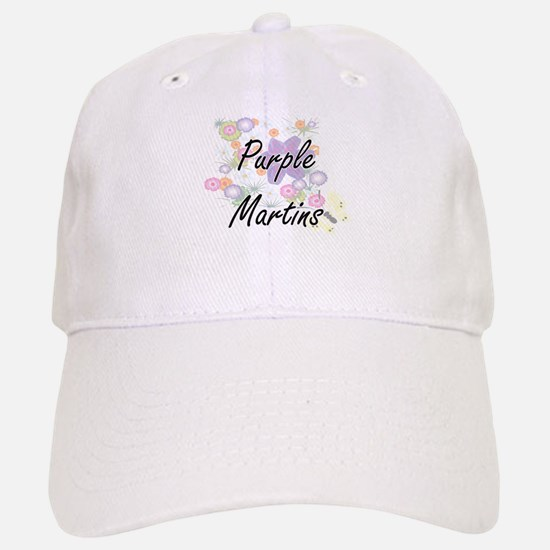 Purple Martins artistic design with flowers Baseball Baseball Cap