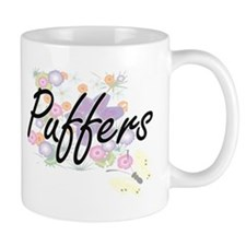 Puffers artistic design with flowers Mugs