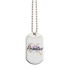Primates artistic design with flowers Dog Tags