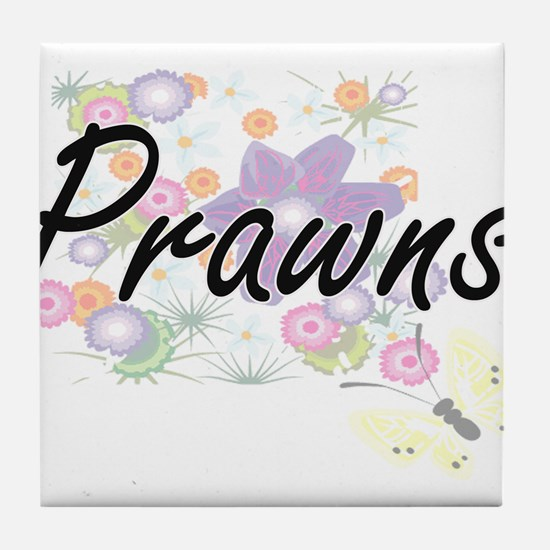 Prawns artistic design with flowers Tile Coaster