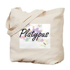 Platypus artistic design with flowers Tote Bag