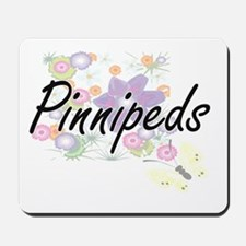Pinnipeds artistic design with flowers Mousepad