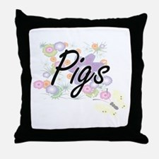 Pigs artistic design with flowers Throw Pillow