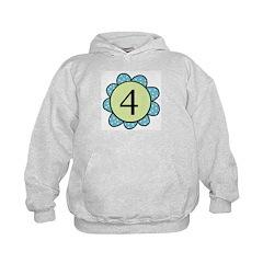 four blue/green flower Hoodie