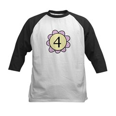 four purple/yellow flower Tee