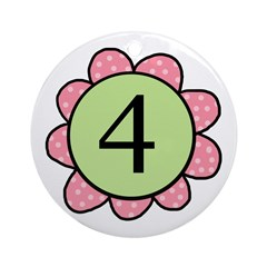 four pink/green Ornament (Round)