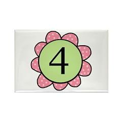 four pink/green flower magnet