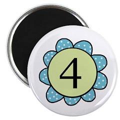 four blue/green flower magnet