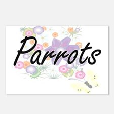 Parrots artistic design w Postcards (Package of 8)