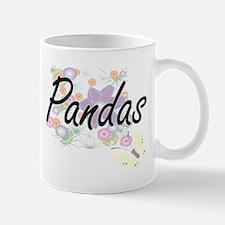 Pandas artistic design with flowers Mugs