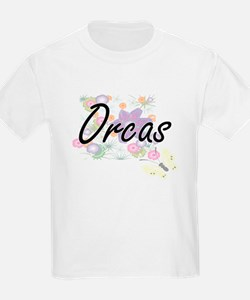 Orcas artistic design with flowers T-Shirt