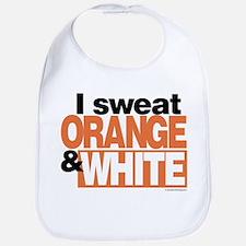 I Sweat Orange and White Bib