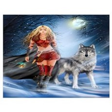 Warrior Woman and Wolf Wall Art Poster
