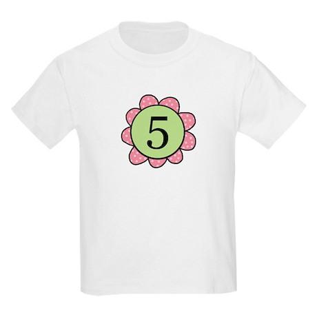 5 pink/green flower Kids Light T-Shirt