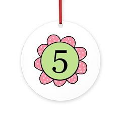 5 pink/green flower Ornament (Round)
