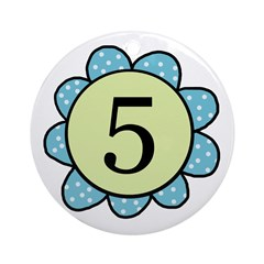 5 blue/green flower Ornament (Round)