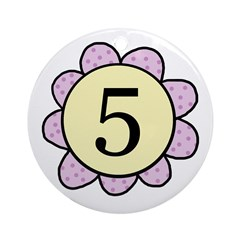 5 purple/yellow flower Ornament (Round)