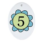5 blue/green flower Oval Ornament